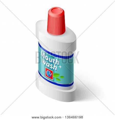 Isometric Bottle of Mouthwash. Illustration on White