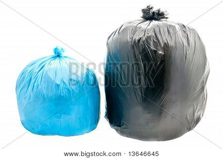 Blue And Black Garbage Bags