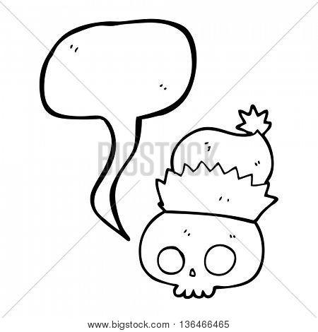 freehand drawn speech bubble cartoon skull wearing christmas hat