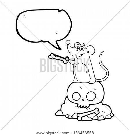 freehand drawn speech bubble cartoon graveyard rat