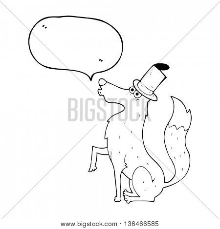 freehand drawn speech bubble cartoon wolf