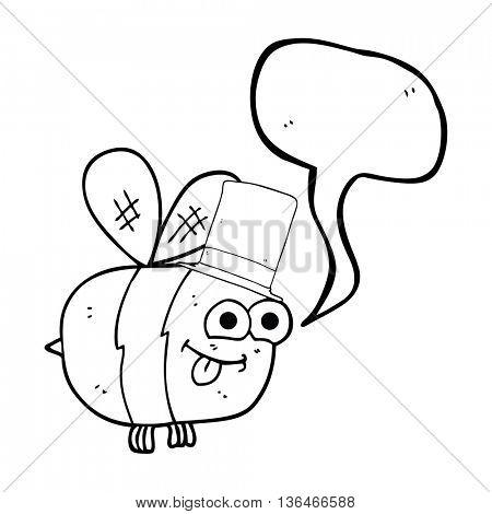 freehand drawn speech bubble cartoon bee wearing hat