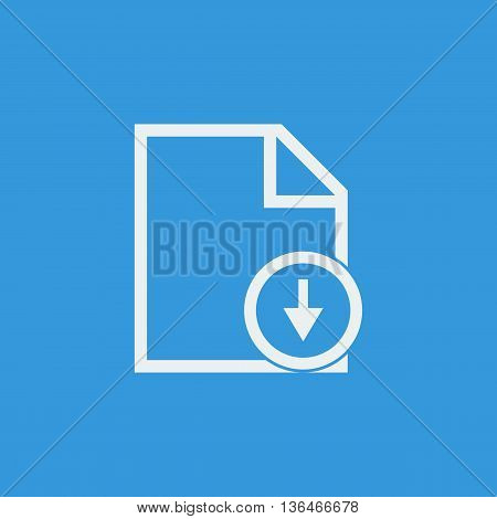 File Down Icon In Vector Format. Premium Quality File Down Symbol. Web Graphic File Down Sign On Blu