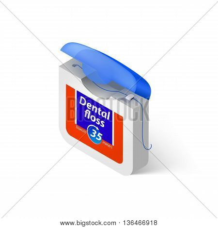 Illustration Showing in a Dental Floss on White Background