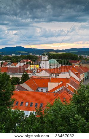 TRENCIN, SLOVAKIA - JUNE 19, 2016: Old town of Trencin as seen from the castle hill on June 19, 2016.