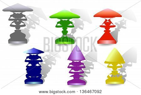 Set of colorful vintage lamp with shadows. Retro floor green, red, blue, purple, gray and yellow lamps