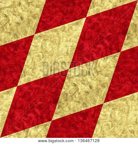 Abstract seamless gold and red diamond pattern of beveled veined squares. Detail of floor background with gold and red mottled pattern