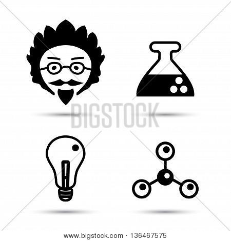 Professor and science icons vector illustration isolated on white