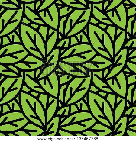 Vector seamless foliage pattern. Green leaves pattern