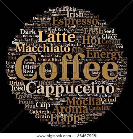 Concept conceptual creative hot coffee, cappuccino or espresso abstract round word cloud isolated on background