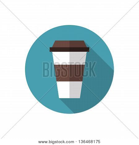 Coffee cup icon. Coffee paper cup. Disposable coffee cup sign. Flat design illustration with long shadow. Flat style vector illustration