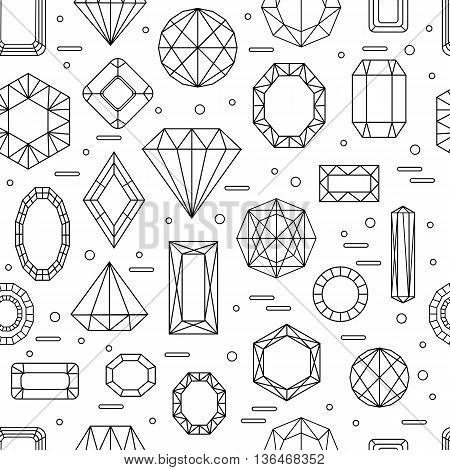 Vector seamless pattern with diferent diamonds in line style. Vector illustration.