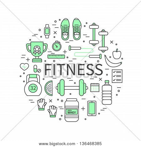 Fitness and sport thin line banner. Modern flat linear vector icons.