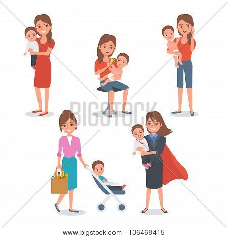 Mother with child isolated. Vector people illustration.