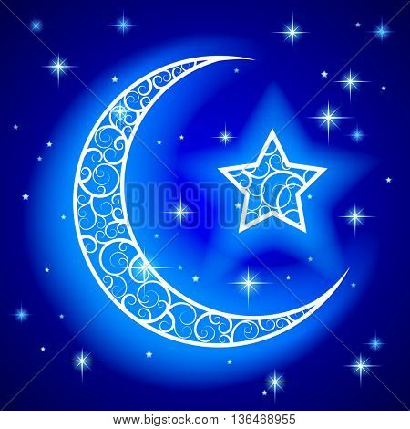 Shining decorative half moon with star on blue night starry sky background. Islamic design Ramadan Kareem greeting card and placard. Vector illustration.