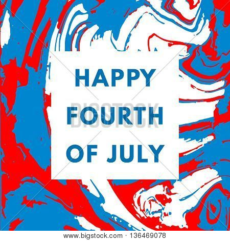 Happy USA Independence day card on geometric minimal background. 4th of July holiday poster.