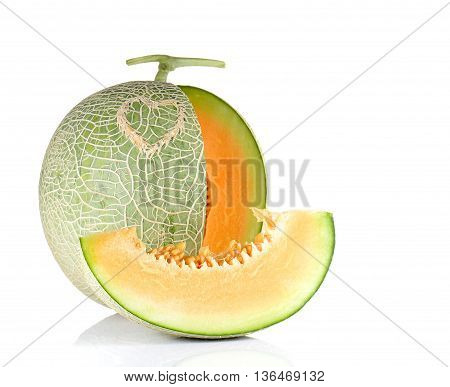 Melon heart pattern and cut pieces isolated on white background.