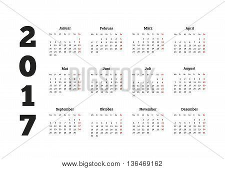 2017 year simple calendar on german language, isolated on white