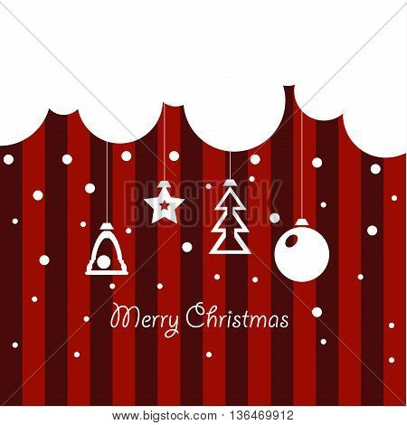 Cover design for Christmas greeting cards with the cloud,Christmas toys on the striped background and the phrase 'Merry Christmas'.
