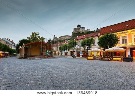 TRENCIN, SLOVAKIA - JUNE 19, 2016: Square in the old town of Trencin, Slovakia ON jUNE 19, 2016.