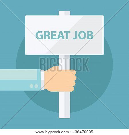 Male hand holding Great Job sign. Flat design vector illustration.