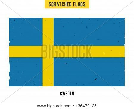 Swedish grunge flag with little scratches on surface. A hand drawn scratched flag of Sweden with a easy grunge texture. Vector modern flat design.
