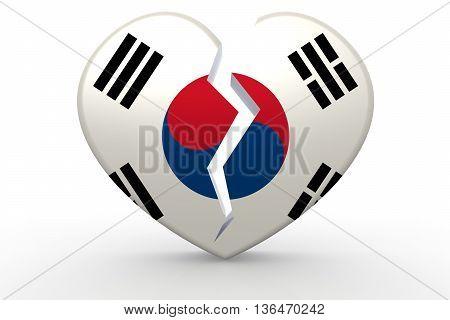 Broken white heart shape with South Korea flag 3D rendering