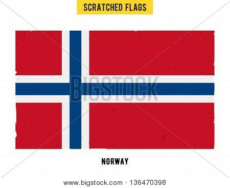 Norwegian grunge flag with little scratches on surface. A hand drawn scratched flag of Norway with a easy grunge texture. Vector modern flat design.