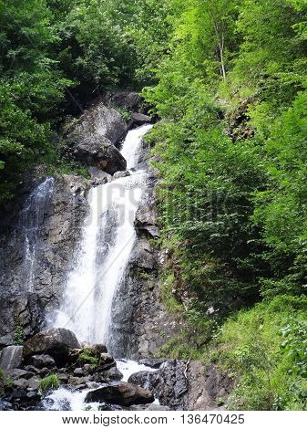 Mountain waterfall on a cliff in the forest
