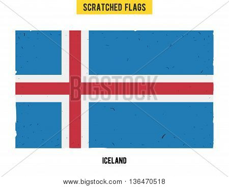 Icelandic grunge flag with little scratches on surface. A hand drawn scratched flag of Iceland with a easy grunge texture. Vector modern flat design.