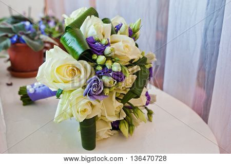 Purple And Milk Rose Bouquet For The Bride On Her Special Day