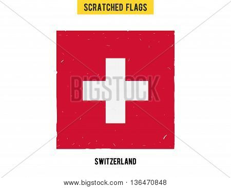 Swiss grunge flag with little scratches on surface. A hand drawn scratched flag of Swizerland with a easy grunge texture. Vector modern flat design