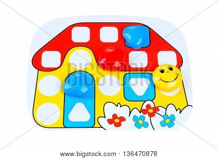 children's board game for young children. game board in the form of a small house with chips - Study of color and size