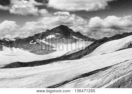 black and white Elbrus mountain with ice