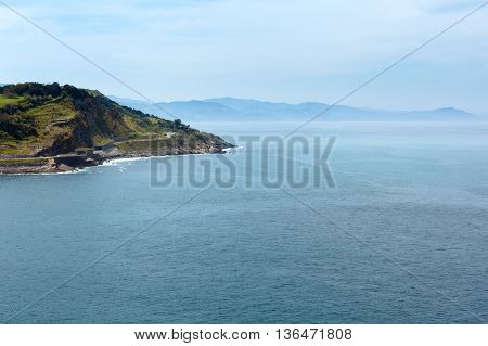 Ocean Coastline View From Getaria Mouse, Spain, Basque Country.