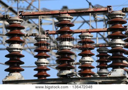 Electric Switches In An Electrical Substation Hydroelectric Powe