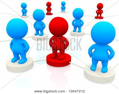 3D blue and red people networking isolated over a white background