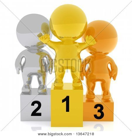 3d people in a podium - gold, silver and bronze - isolated over a white background