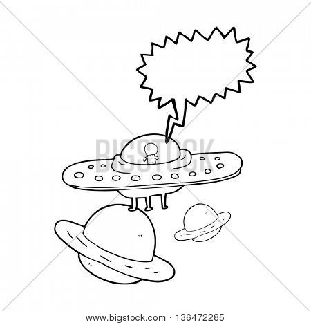 freehand drawn speech bubble cartoon flying saucer in space