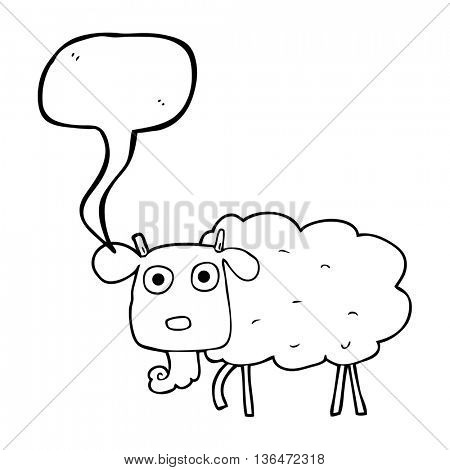 freehand drawn speech bubble cartoon muddy goat