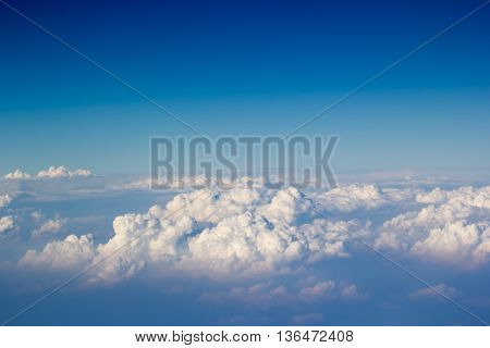 Blue sky and cloudy top view from airplane