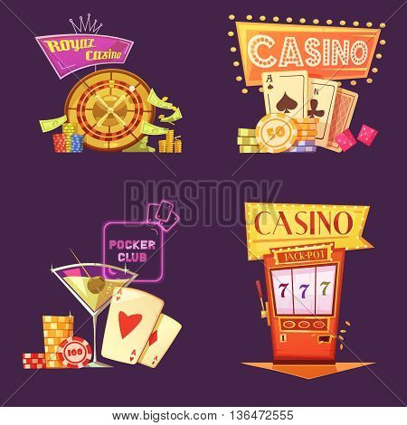 Royal casino retro cartoon 2x2 icons set with poker club slot machine chips and gain on purple background flat isolated vector illustration