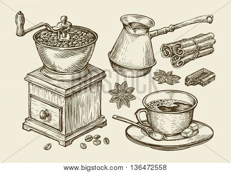 Hand-drawn coffee grinder, cup, beans, star anise, cinnamon, chocolate, cezve drink Sketch vector illustration