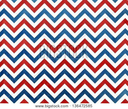 Watercolor Dark Blue And Red Stripes Background, Chevron.