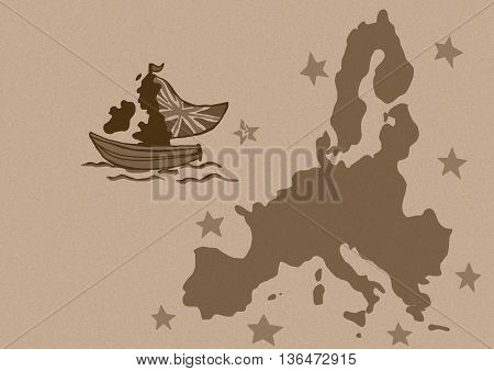 Britain leaves European Union vintage image map