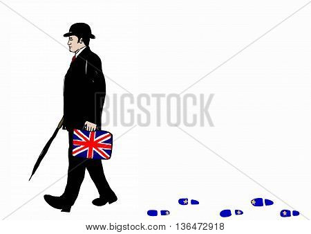 English business man with hat and umbrella