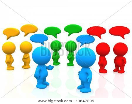 3D people with talk bubbles - isolated over a white background