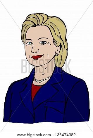 24 June2016.Illustration of Hillary Clinton running for president