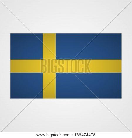 Sweden flag on a gray background. Vector illustration