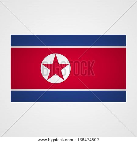 North Korea flag on a gray background. Vector illustration